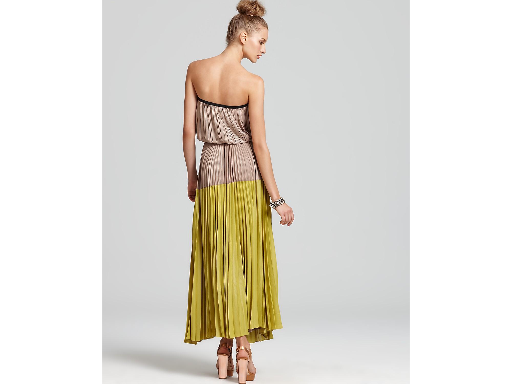 905ff9c7e16 BCBGMAXAZRIA Pleated Ombre Maxi Dress in Yellow - Lyst