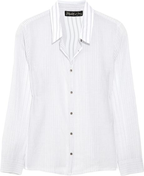Elizabeth And James Amie Striped Cottongauze Shirt in White (gray) - Lyst