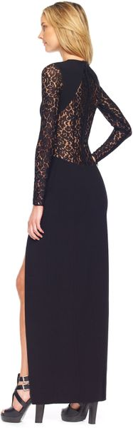 Michael Kors Lace Inset Sideslit Gown in Black - Lyst