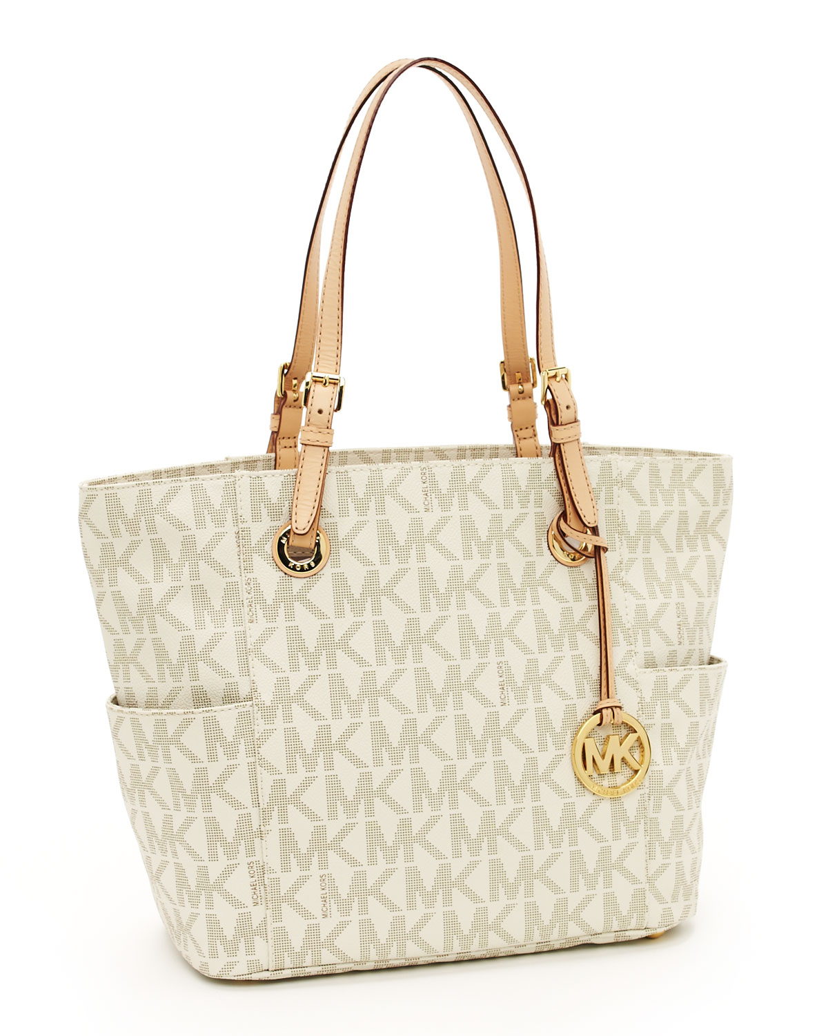 michael kors jet set logo print signature tote vanilla in natural. Black Bedroom Furniture Sets. Home Design Ideas