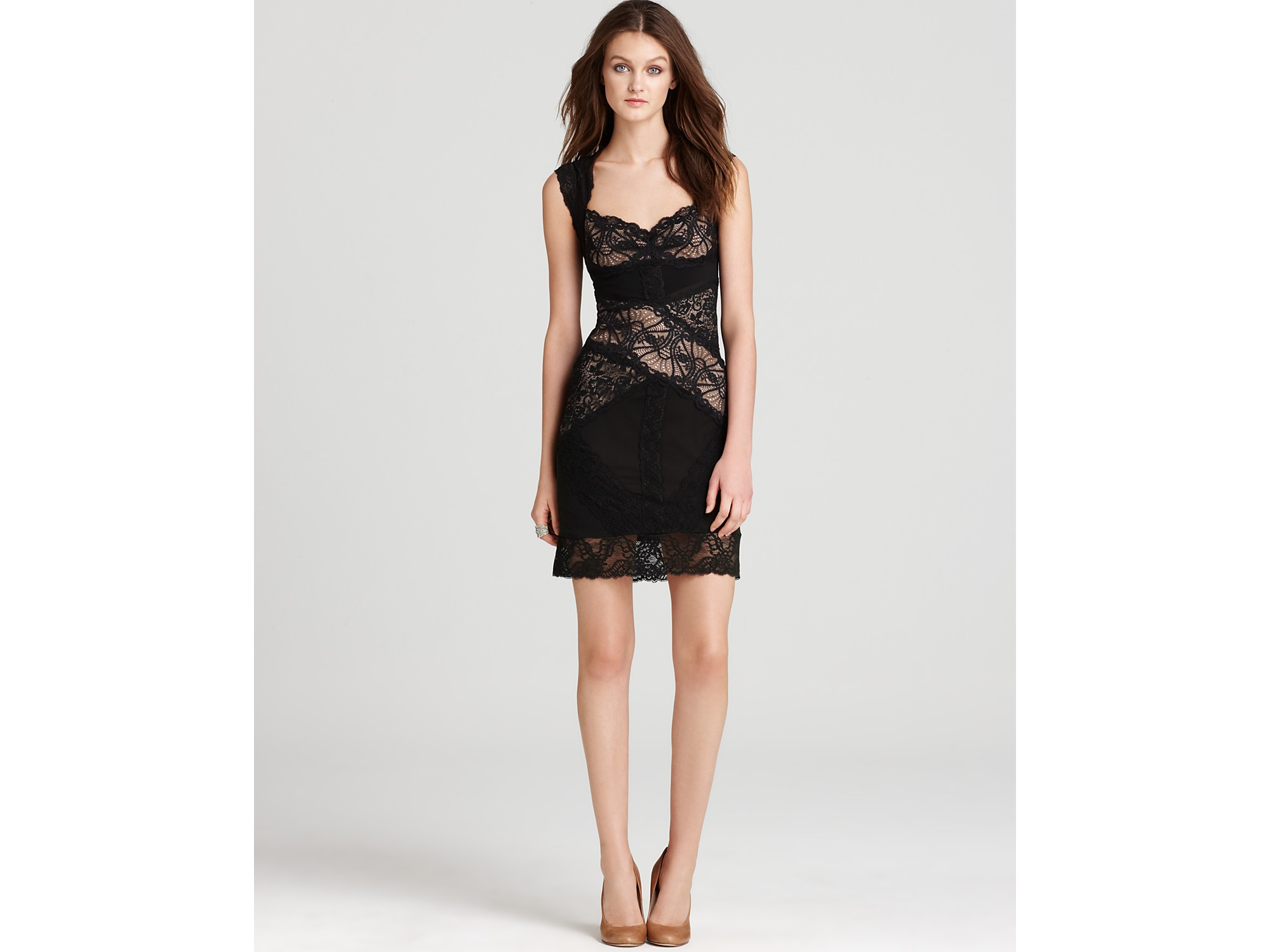 Nicole miller Lace Dress Sweetheart in Black | Lyst