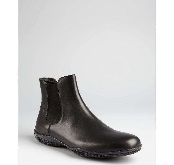 prada prada sport black leather slipon ankle boots in