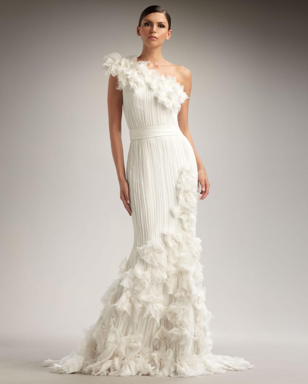 Lyst - Tadashi Shoji One-Shoulder Rosette Gown in White