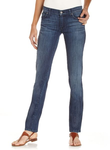 7 for all mankind roxanne squiggle stitch jeans in blue lyst. Black Bedroom Furniture Sets. Home Design Ideas