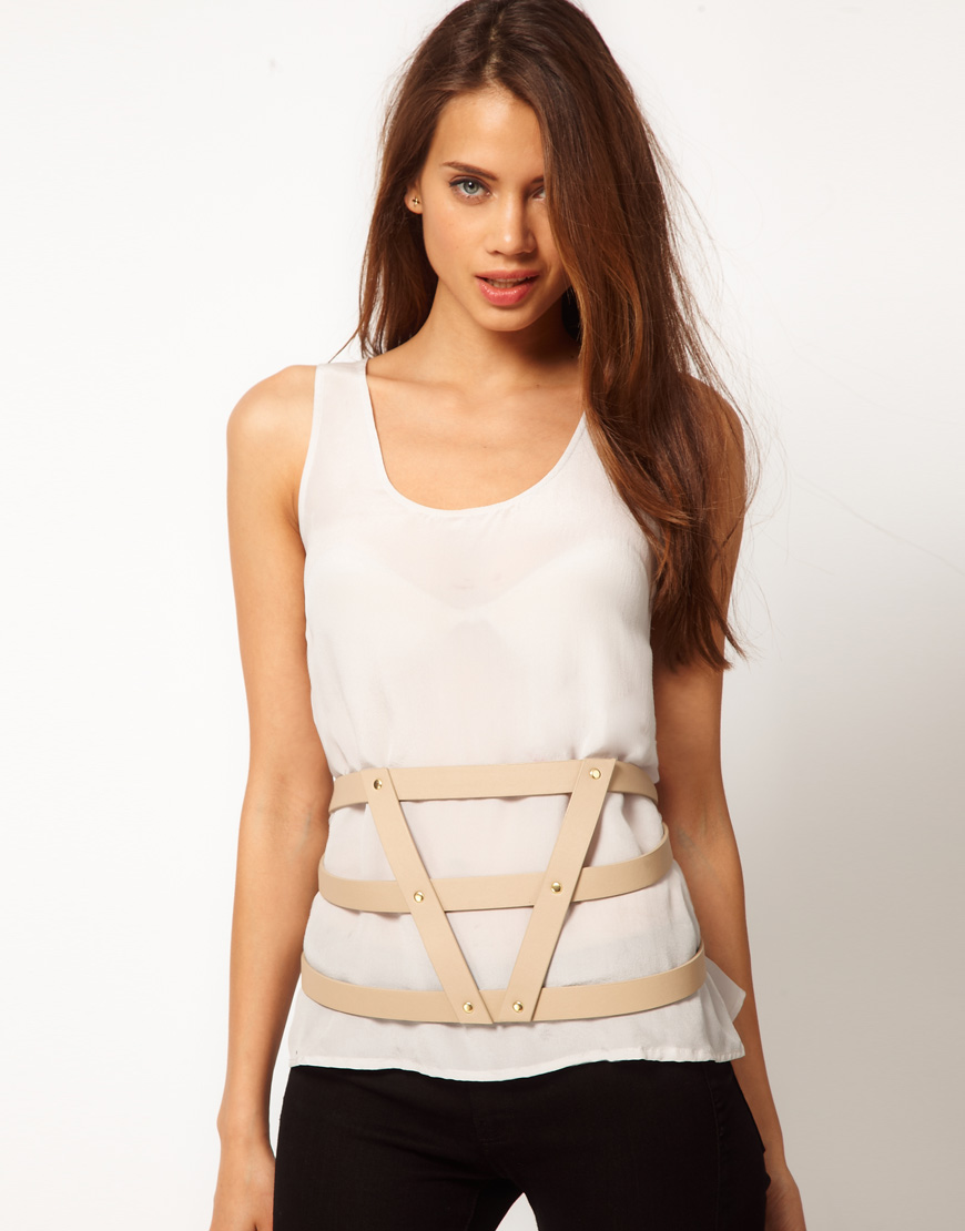 asos nude asos 3 strap harness belt product 1 3489282 904047066 asos asos 3 strap harness belt in natural lyst harness belt at crackthecode.co