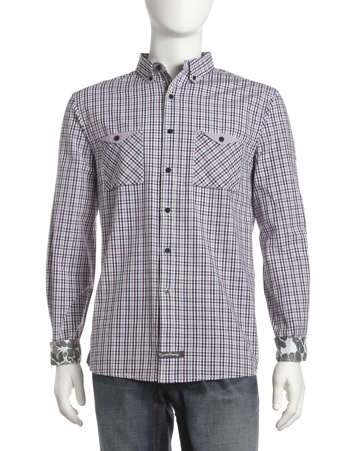 English Laundry Plaid Button Down Shirt In Purple For Men