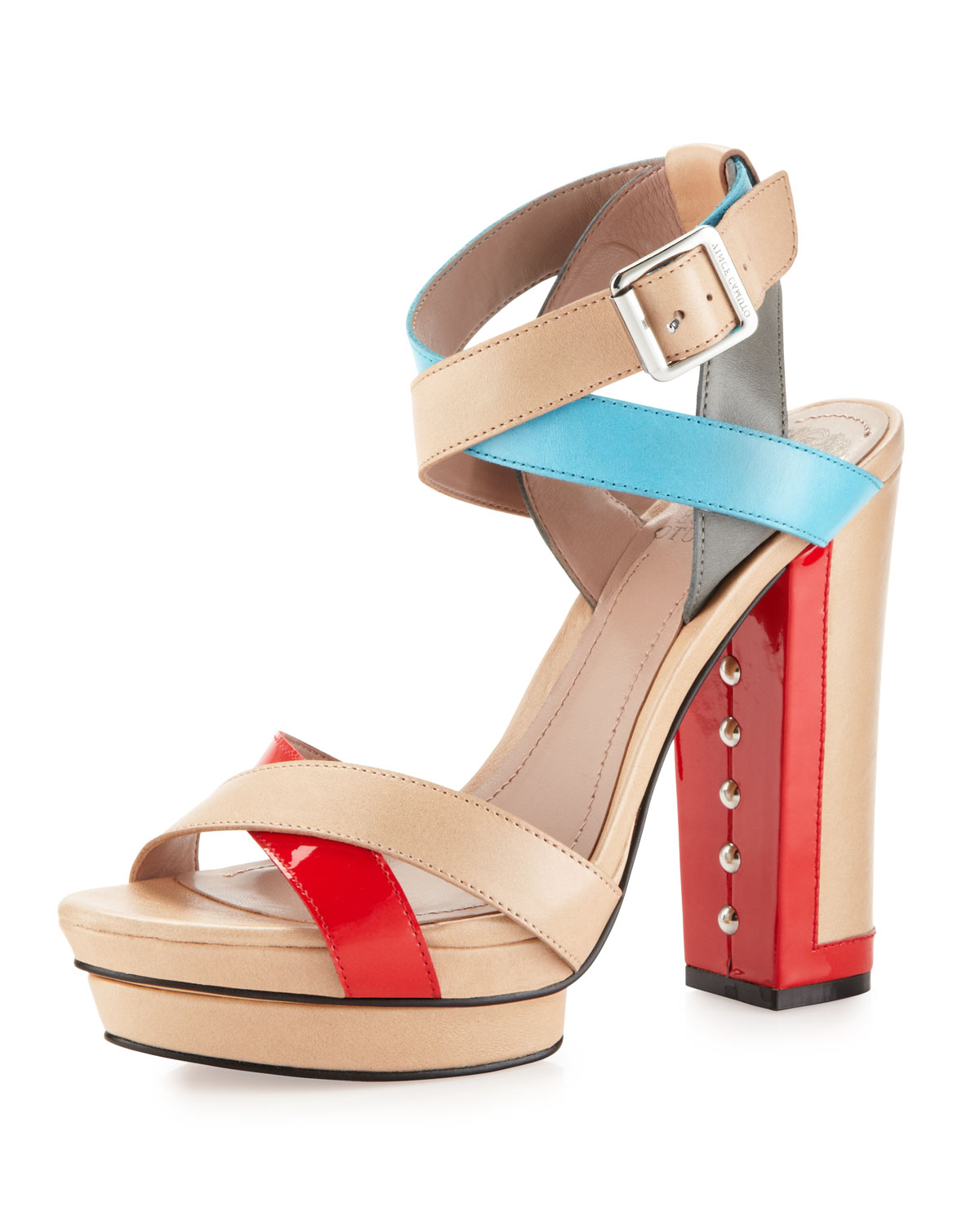 fdf6577bfc25 Lyst - Vince Camuto Pamir Colorblock Thick Heel Platform Sandal in Blue