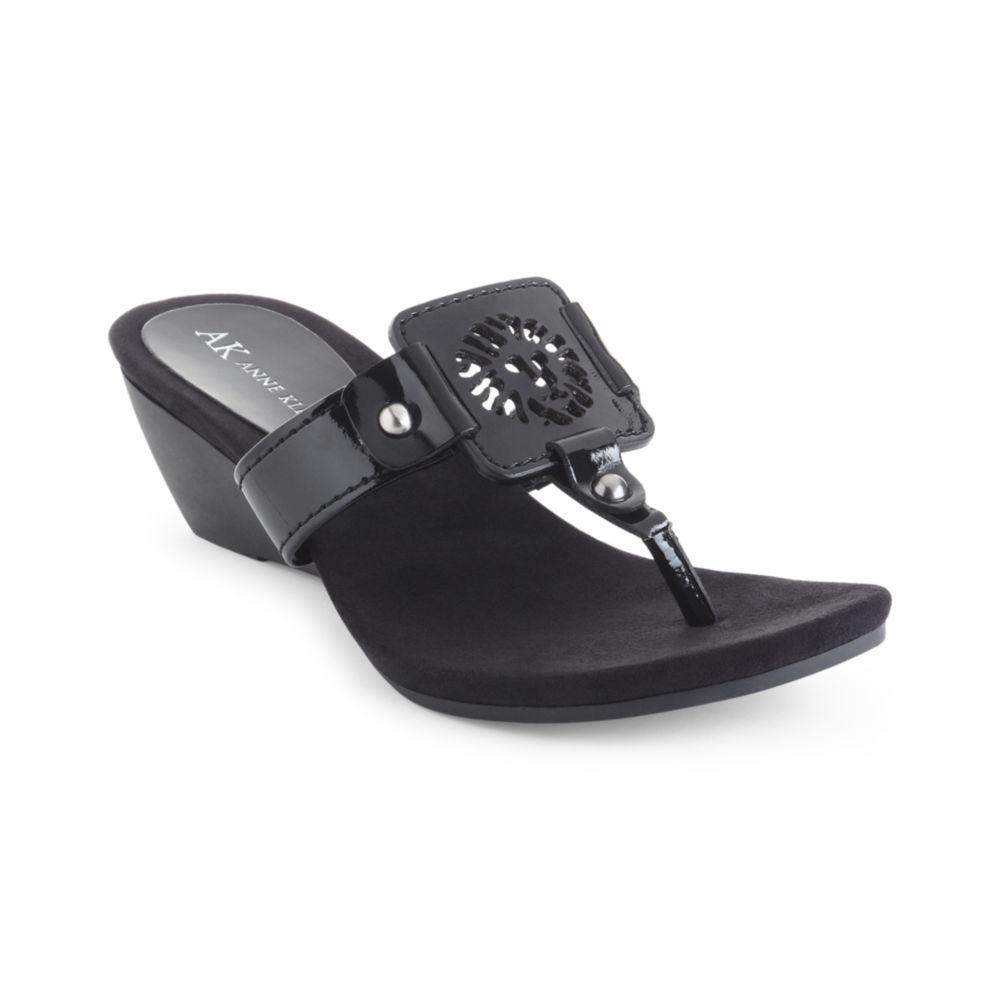 a1ddfc53e259 Black Platform Sandals  Anne Klein Black Wedge Sandals