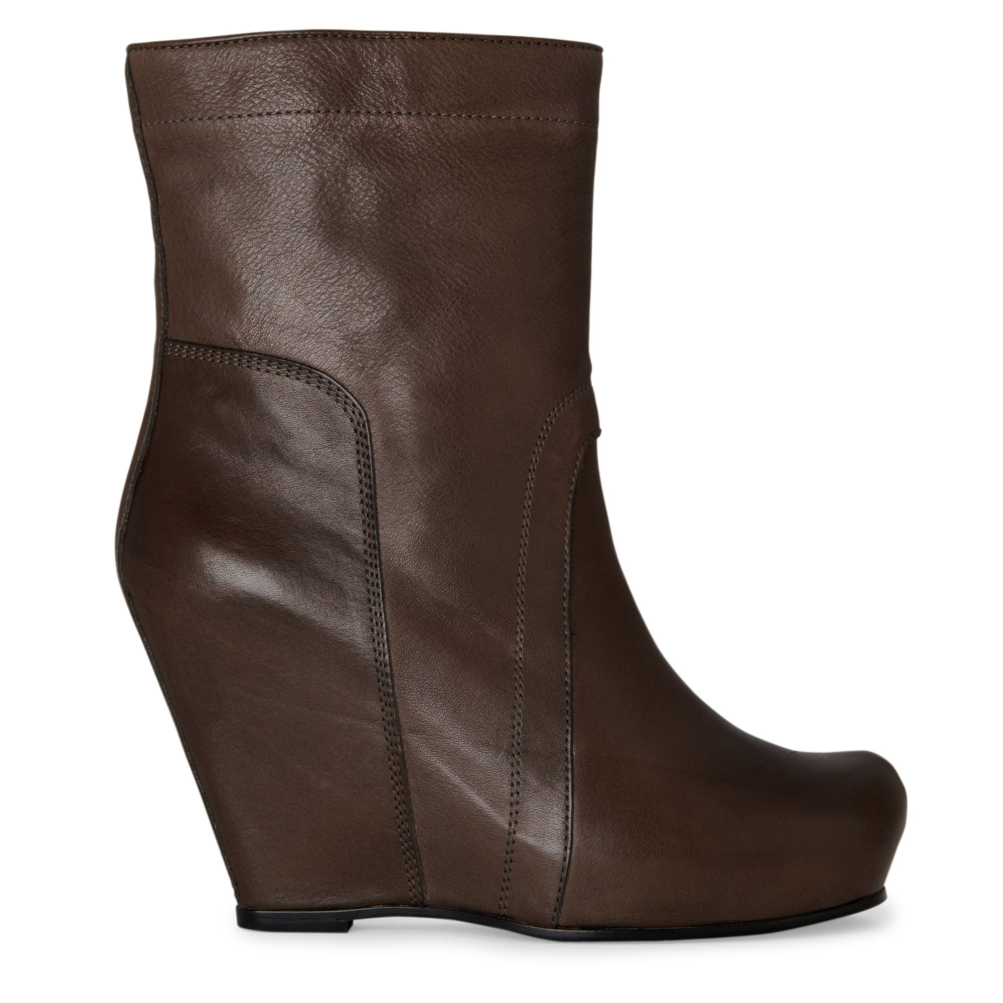 rick owens cypher wedge calf boots in brown taupe lyst