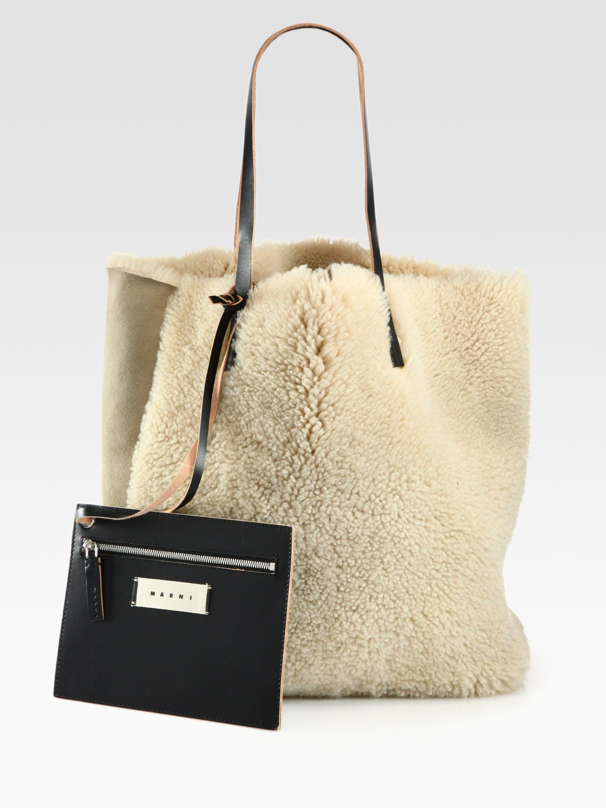 Lyst - Marni Shearling Tote in Natural 868519c502