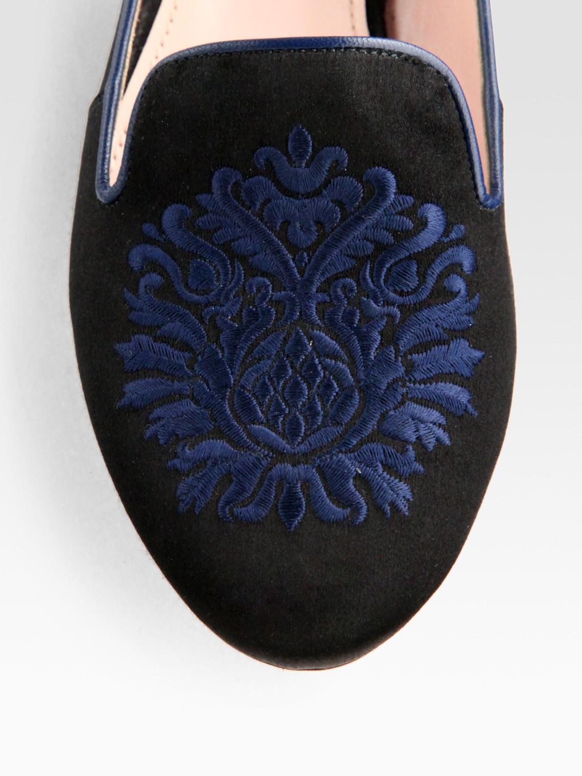 9a79af7c6b10e Lyst - Miu Miu Satin Jewel Smoking Slippers in Black