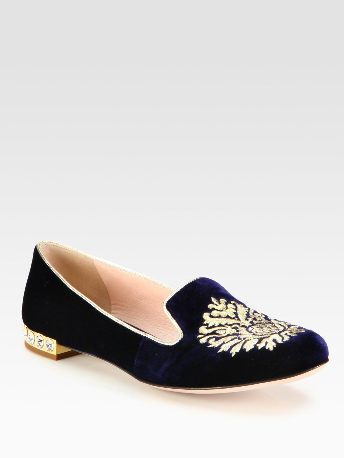 a3833cb94bbb0 Lyst - Miu Miu Velvet Jewel Smoking Slippers in Blue