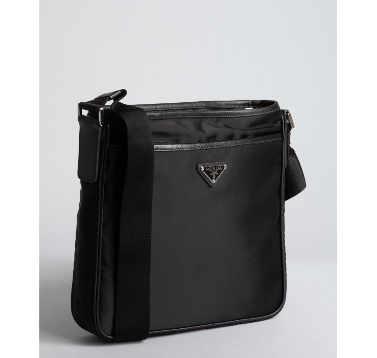 c727d2f9c93b ... cheap lyst prada black nylon logo mini messenger bag in black for men  c8f59 5ef48