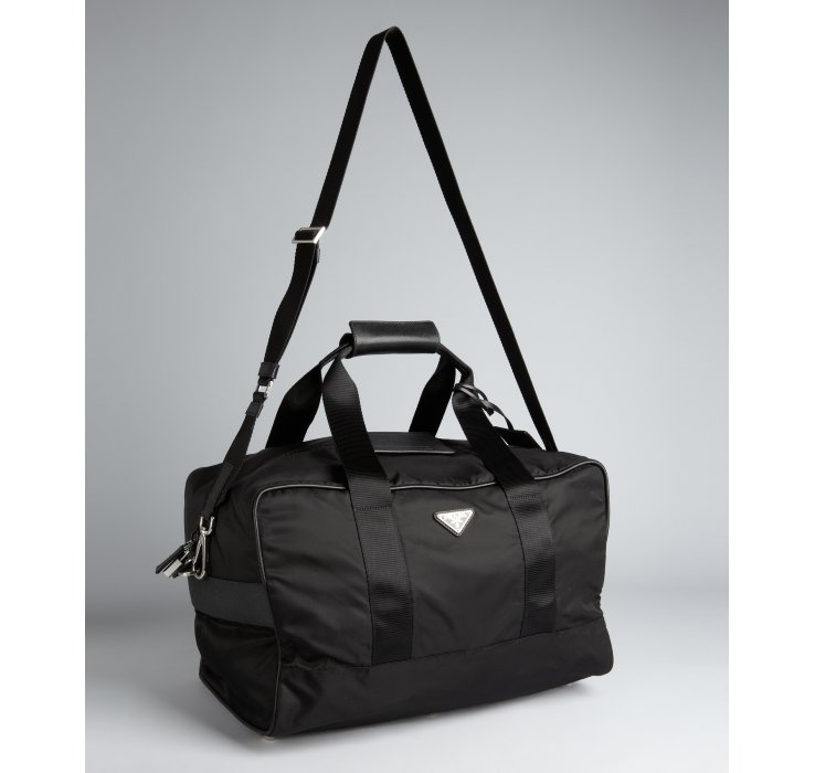 b08d662981 ... discount prada black nylon medium overnight bag in black for men lyst  70cf5 f9a7e