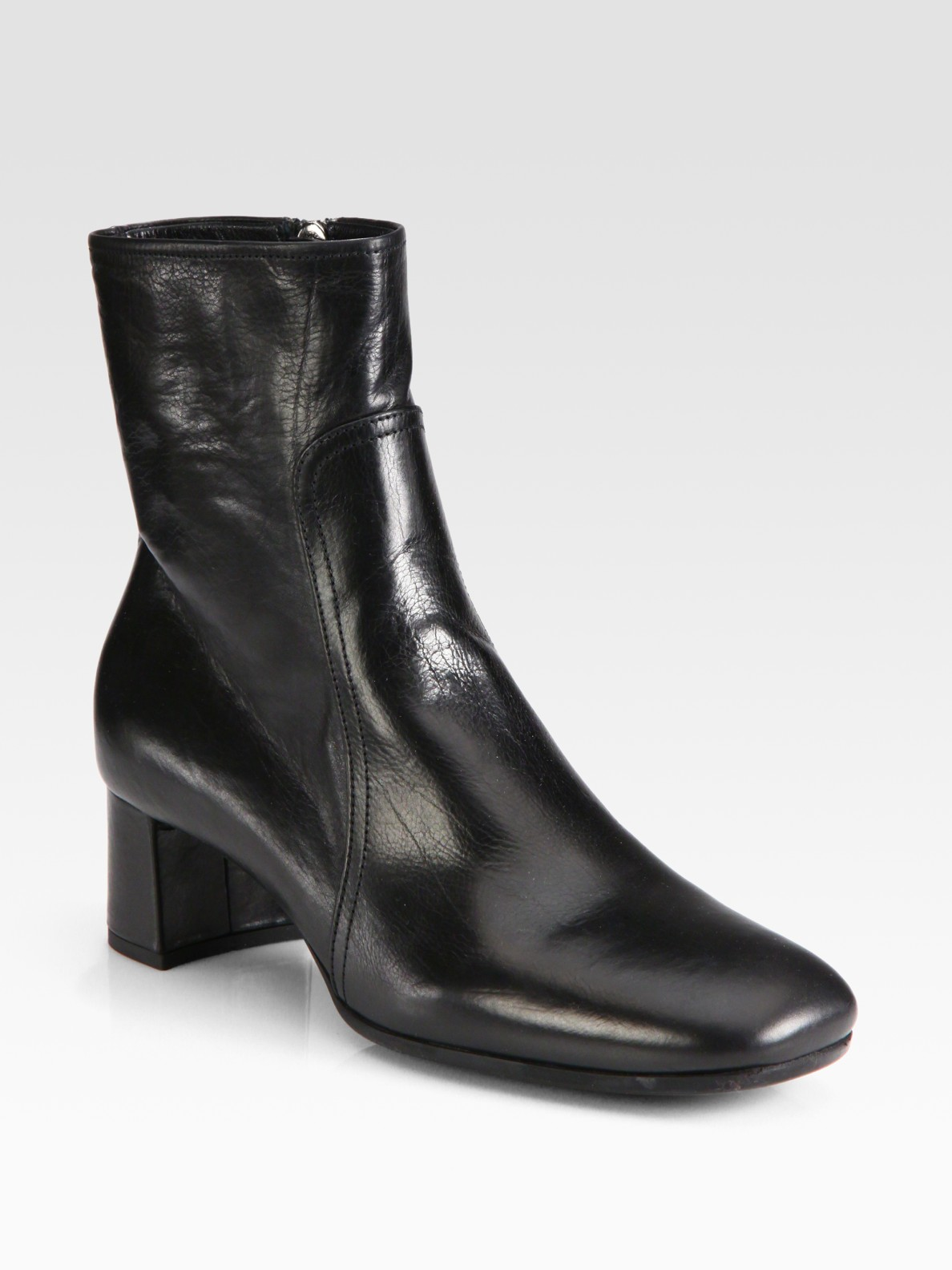 prada leather block heel ankle boots in black lyst