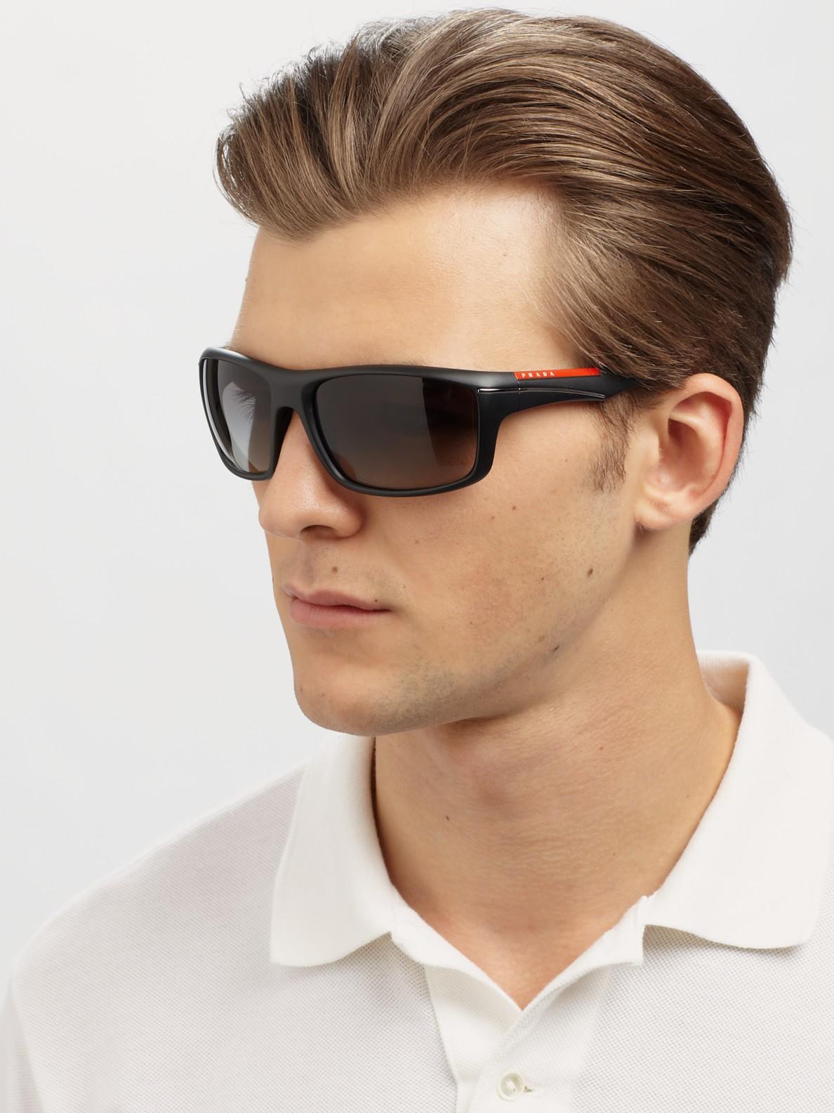 e8b813a6c49c ... shop prada sport wrap sunglasses in black for men lyst 1c7ec 9372d