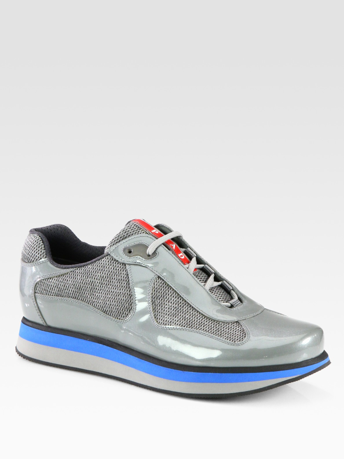 PradaAmerica's Cup Patent Leather Patchwork Sneakers xn43sv