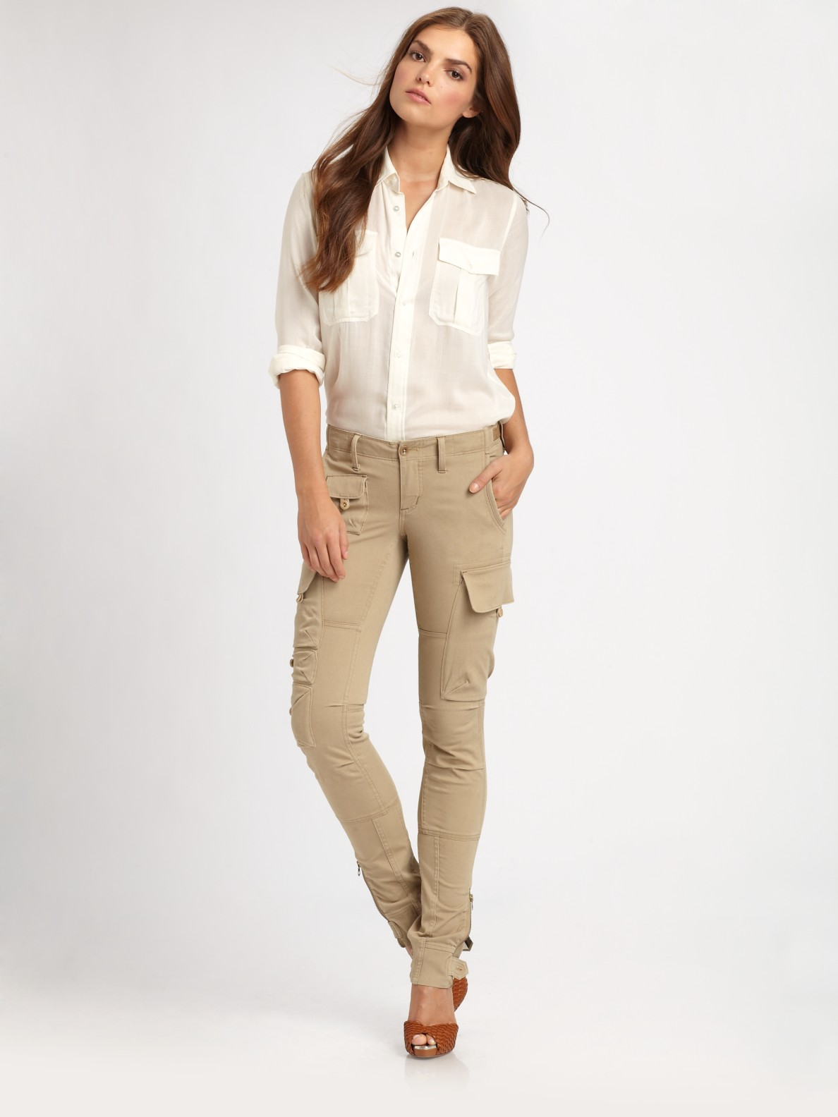 Ralph lauren blue label Twill Cargo Pants in Natural | Lyst