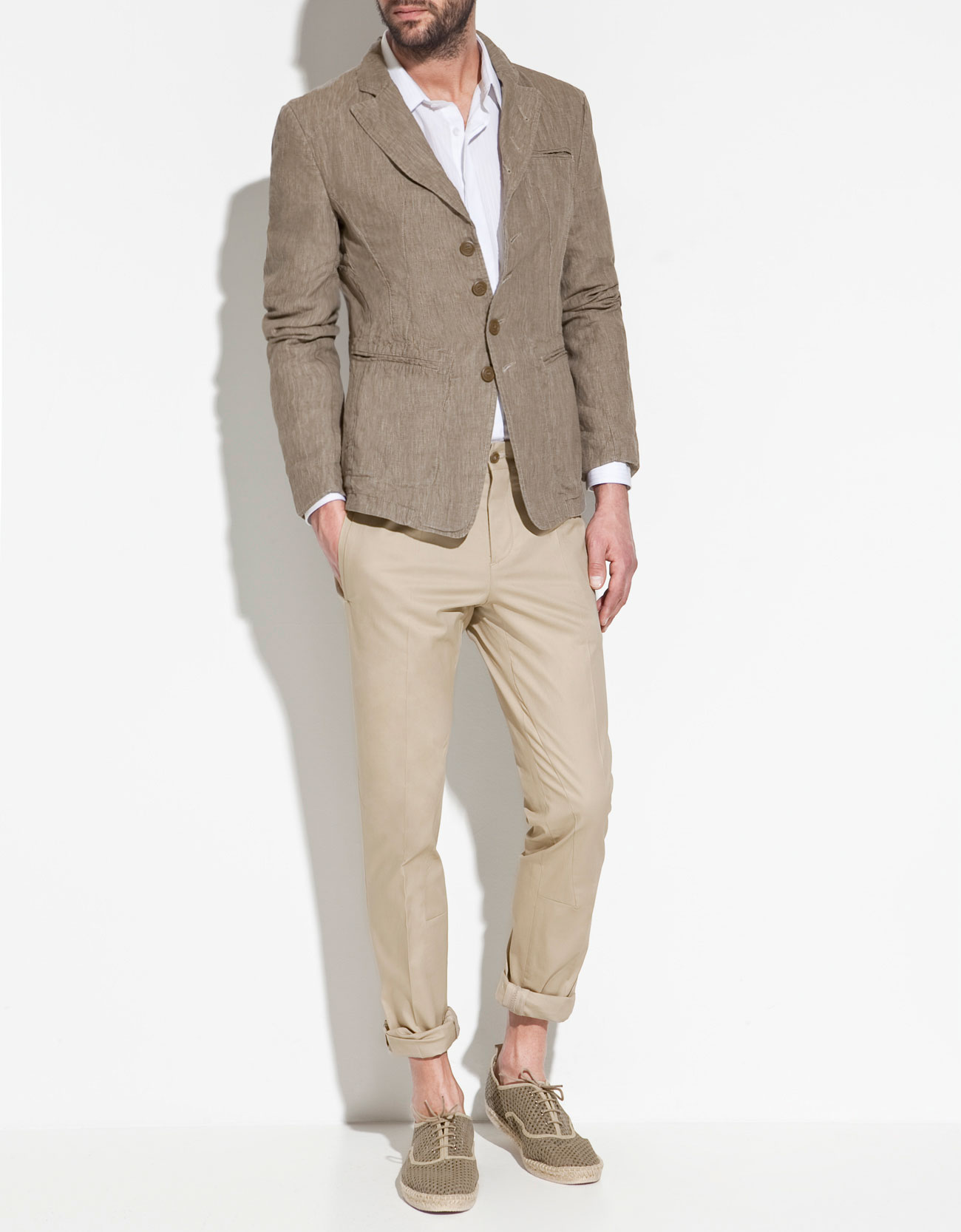 Zara Linen Blazer in Natural for Men | Lyst