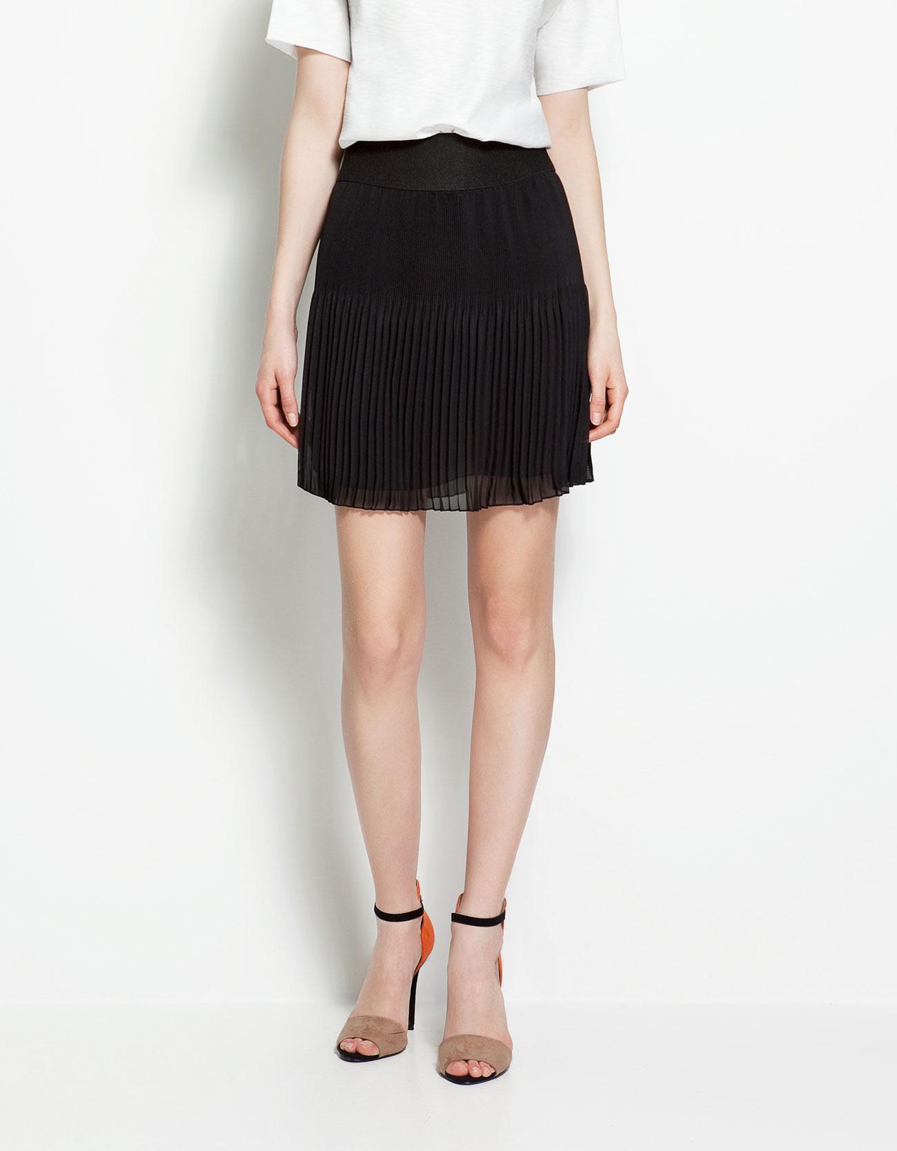 zara irregular pleated skirt in black lyst