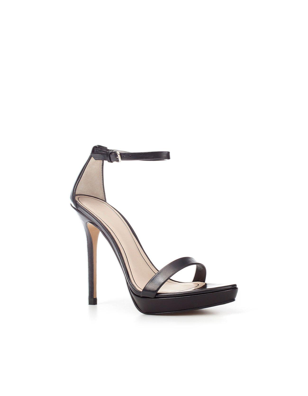 Zara Thin Strap Sandals in Black | Lyst