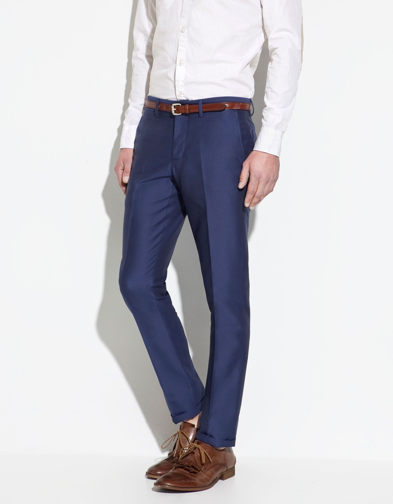 Zara Structured Trousers In Blue For Men | Lyst
