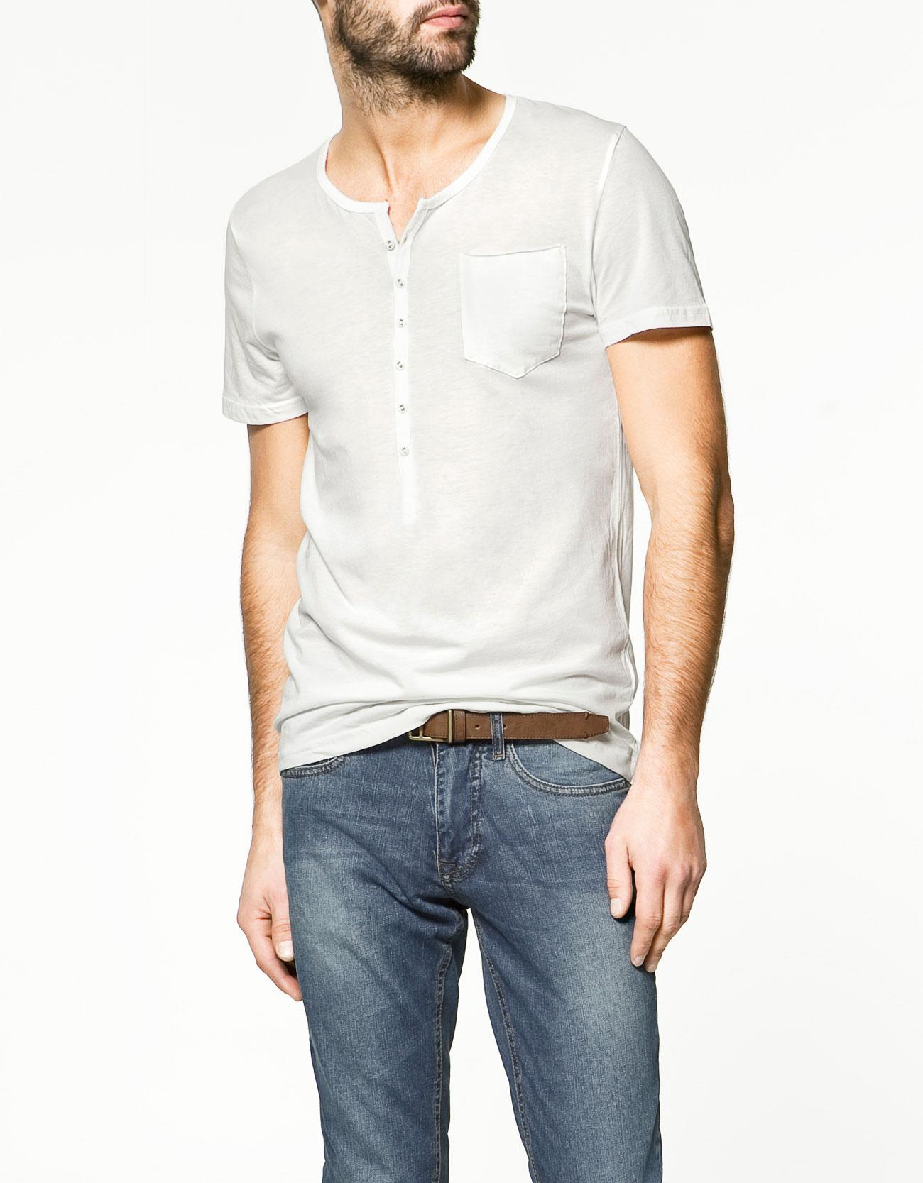 Zara button neck t shirt in white for men lyst for Button collar t shirt
