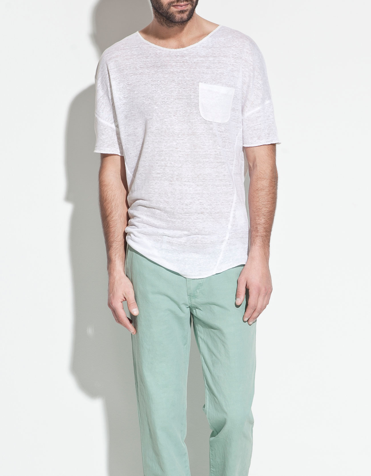 zara linen tshirt in white for men lyst
