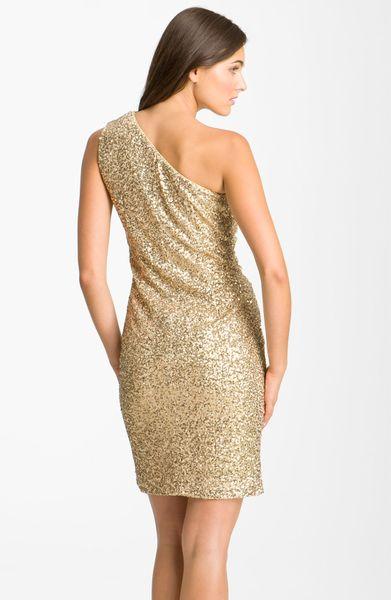Calvin Klein Sequin One Shoulder Dress In Gold Lyst