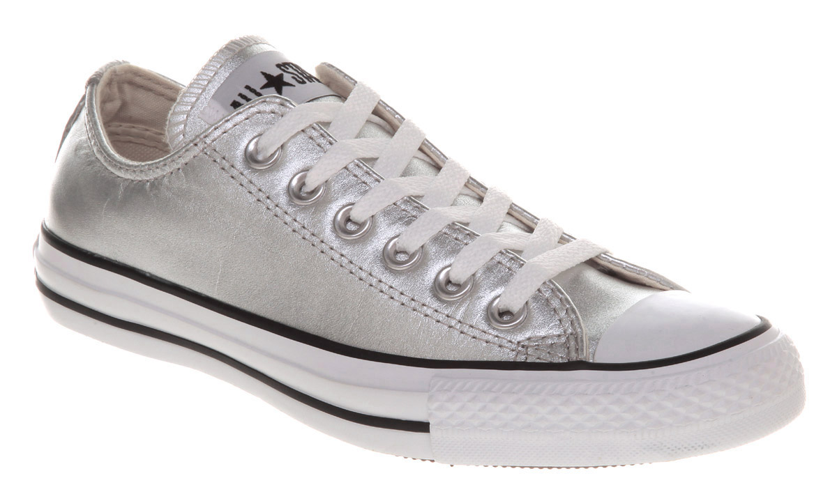 Converse All Star Leather Ox Low Silver Metallic Trainers Shoes