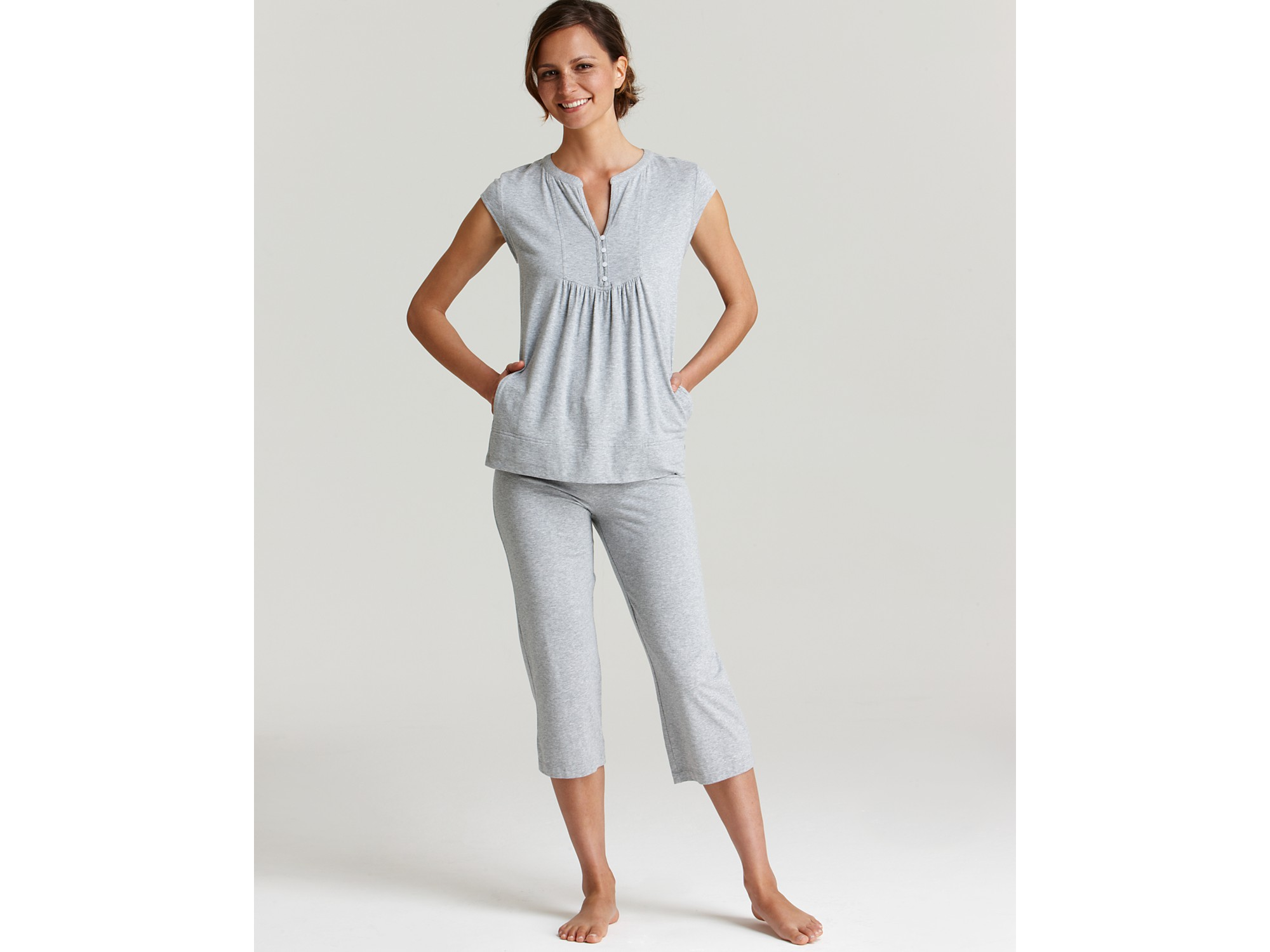 Dkny Modern Fresco Top and Capri Pajama Set in Gray | Lyst