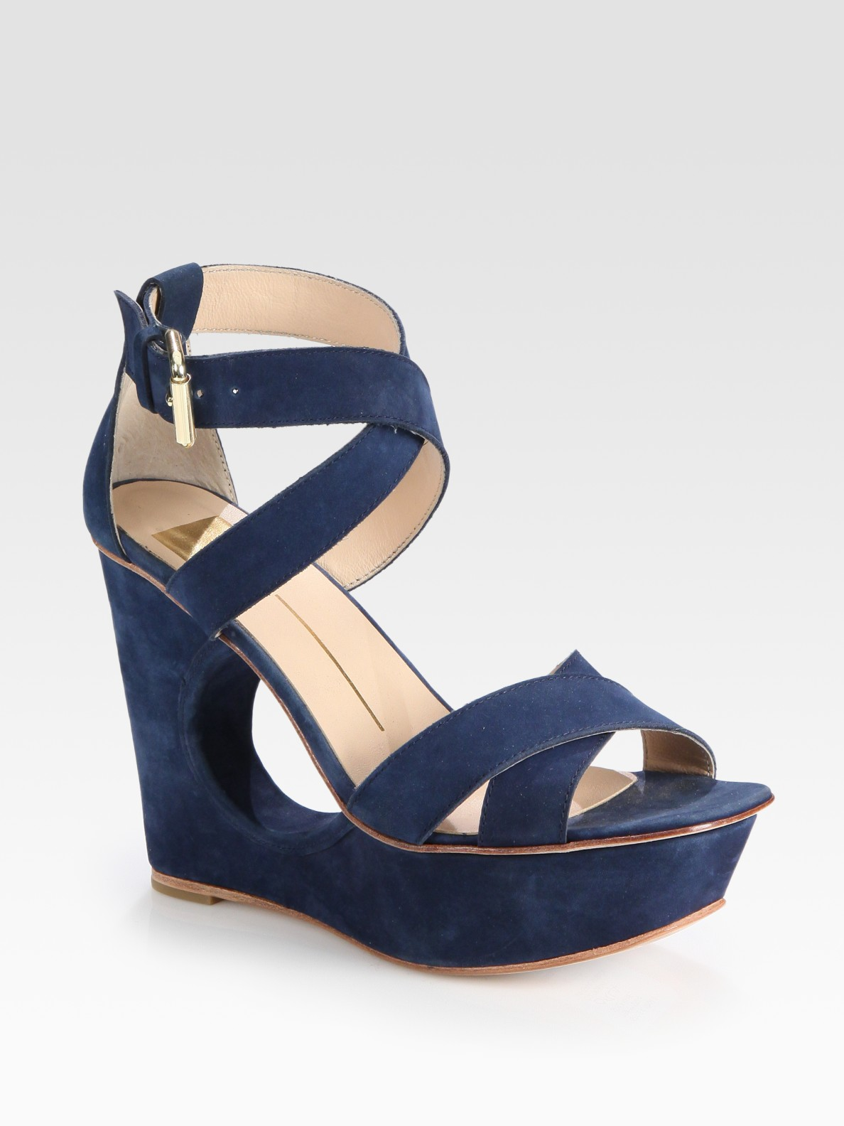 Dolce Vita Suede Cutout Wedge Sandals In Blue Lyst