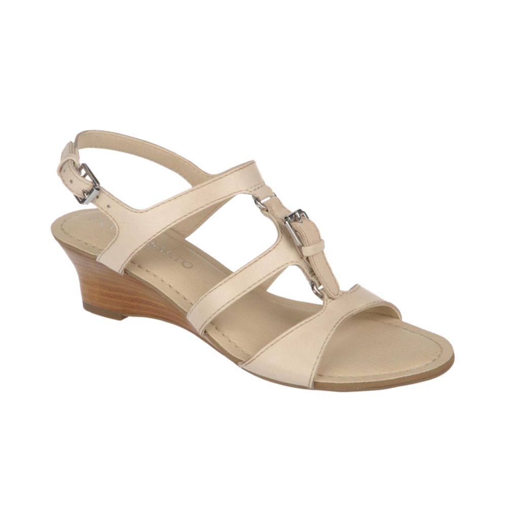 franco sarto ballon wedge sandals in white pale ivory lyst