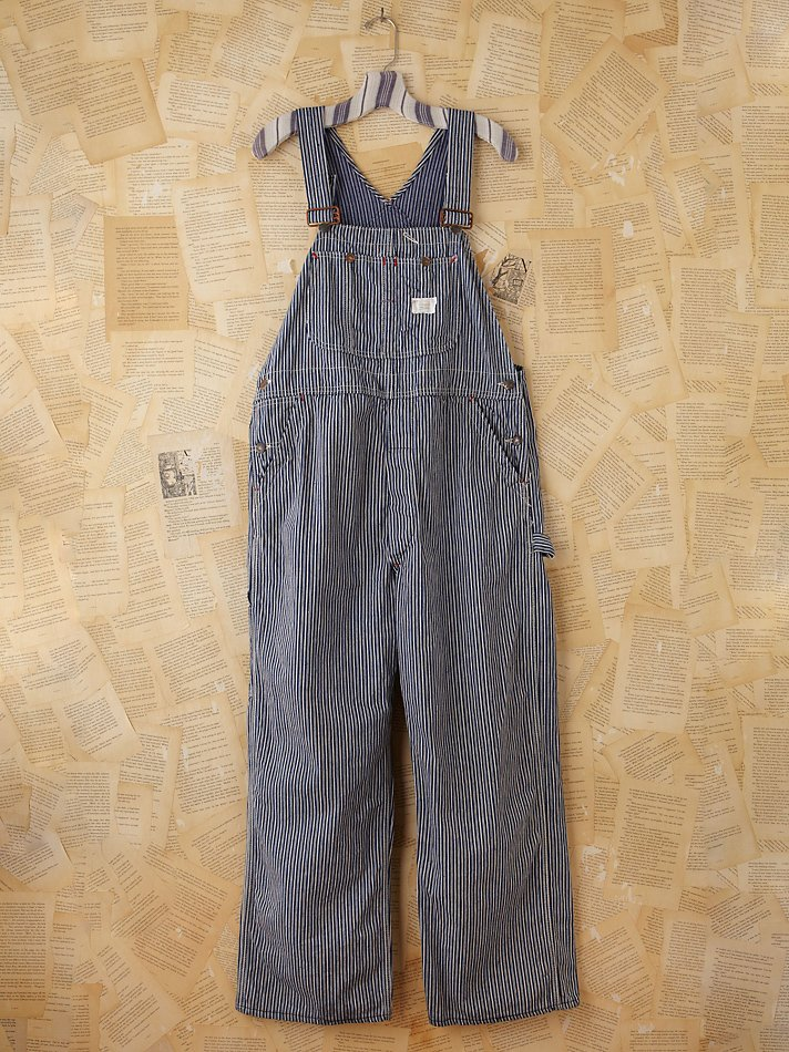 Free People Vintage Pinstripe Overalls In Blue Lyst