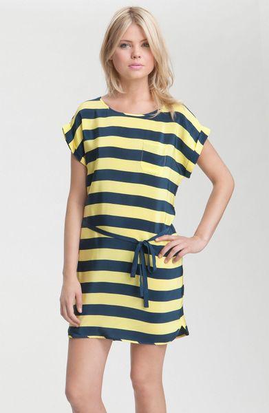French connection stripe silk cr pe de chine t shirt dress for French connection t shirt dress