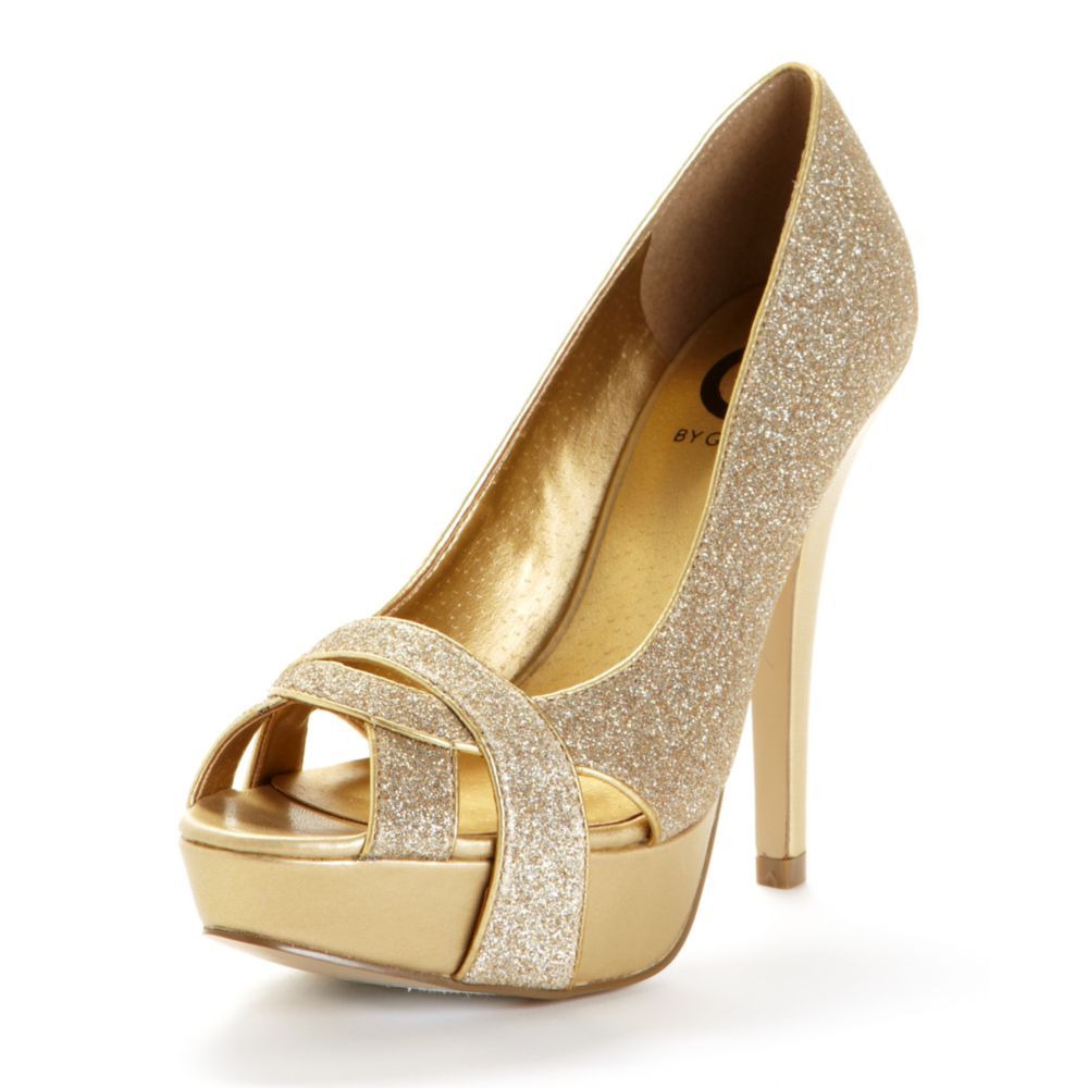 Lyst G By Guess Carlina Peep Toe Platform Pumps In Metallic