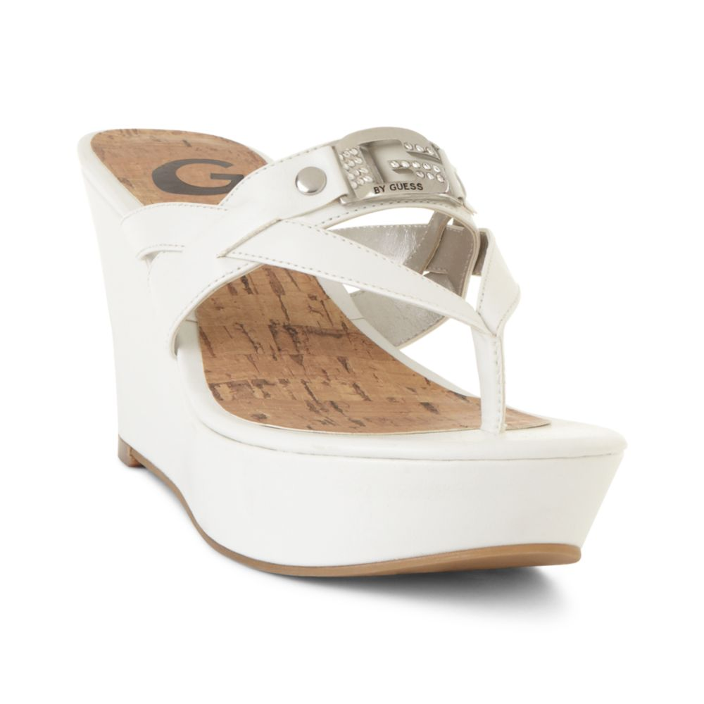 g by guess preview platform wedge sandals in white lyst