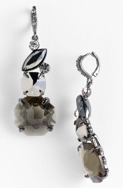 Givenchy Mojave Crystal Drop Earrings in Black (hematite/ black diamond)