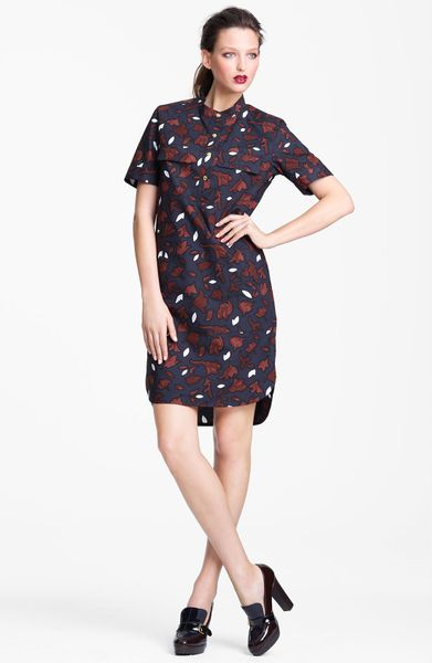 Marni Edition Leaf Print Poplin Shirt Dress in Blue (coffee)