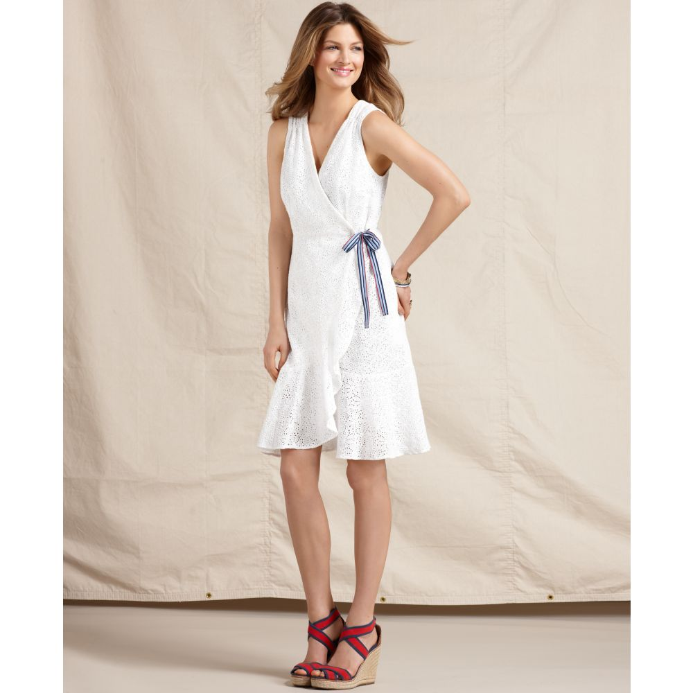 Tommy Hilfiger Sleeveless Eyelet Cotton Wrap Dress In