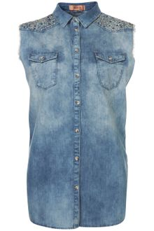 Topshop Sparkle Yoke Sleeveless Shirt - Lyst