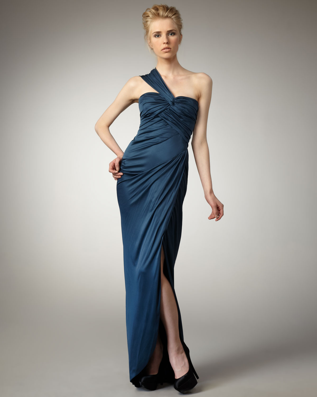 Lyst - Vera Wang Lavender One-shoulder Jersey Gown in Blue