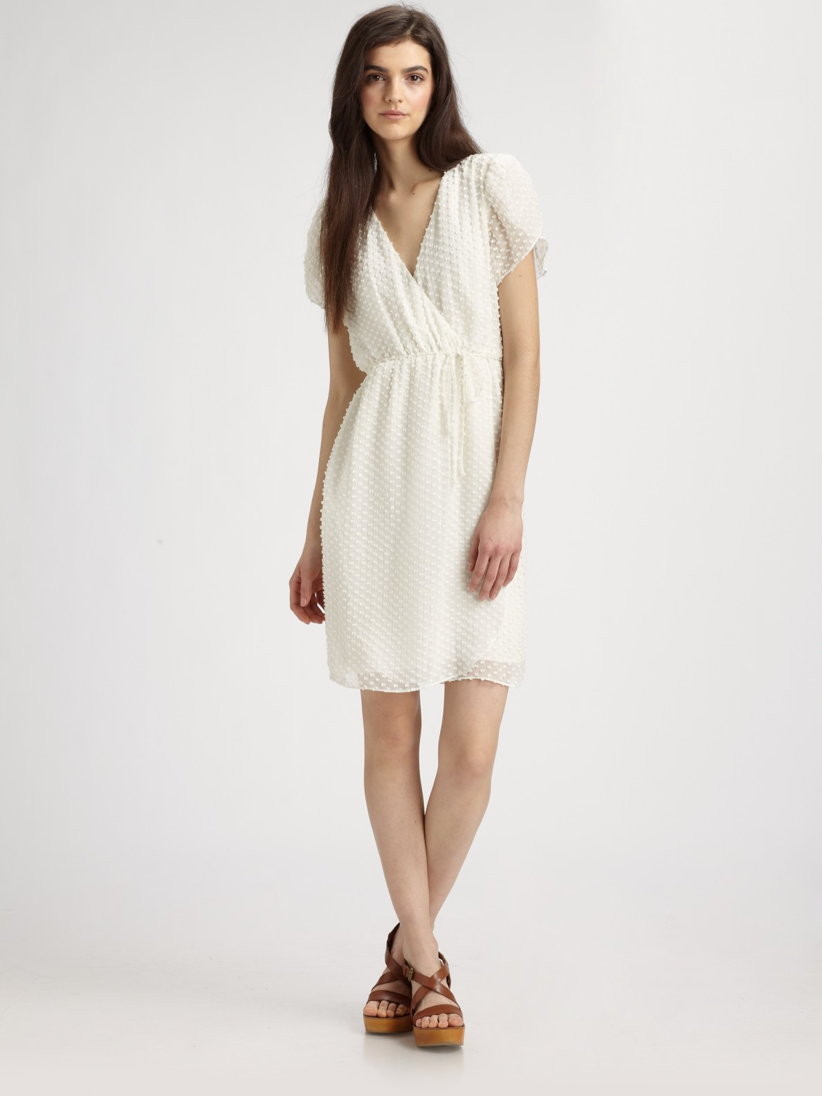 Beyond vintage Swiss Dot Silk Wrap Dress in White | Lyst