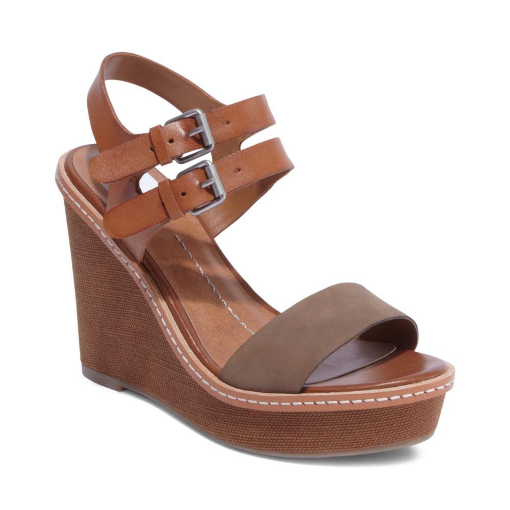 dolce vita janna platform wedge sandals in brown taupe