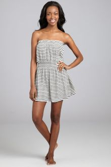Black  White Striped Dress on Black And White Striped Cotton Picasso Coverup Dress In Gray  Black
