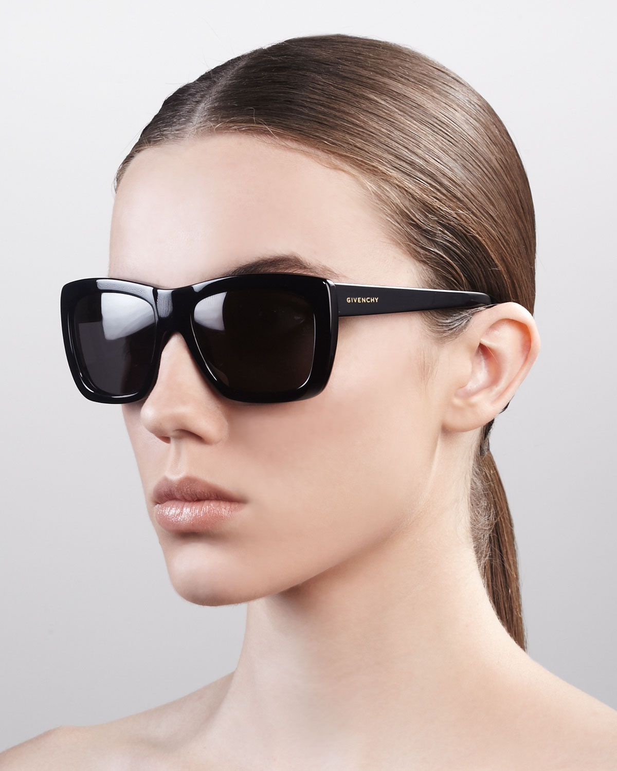 65a9fb0ebe62 Givenchy Oversized Square Sunglasses Shiny Black in Black - Lyst
