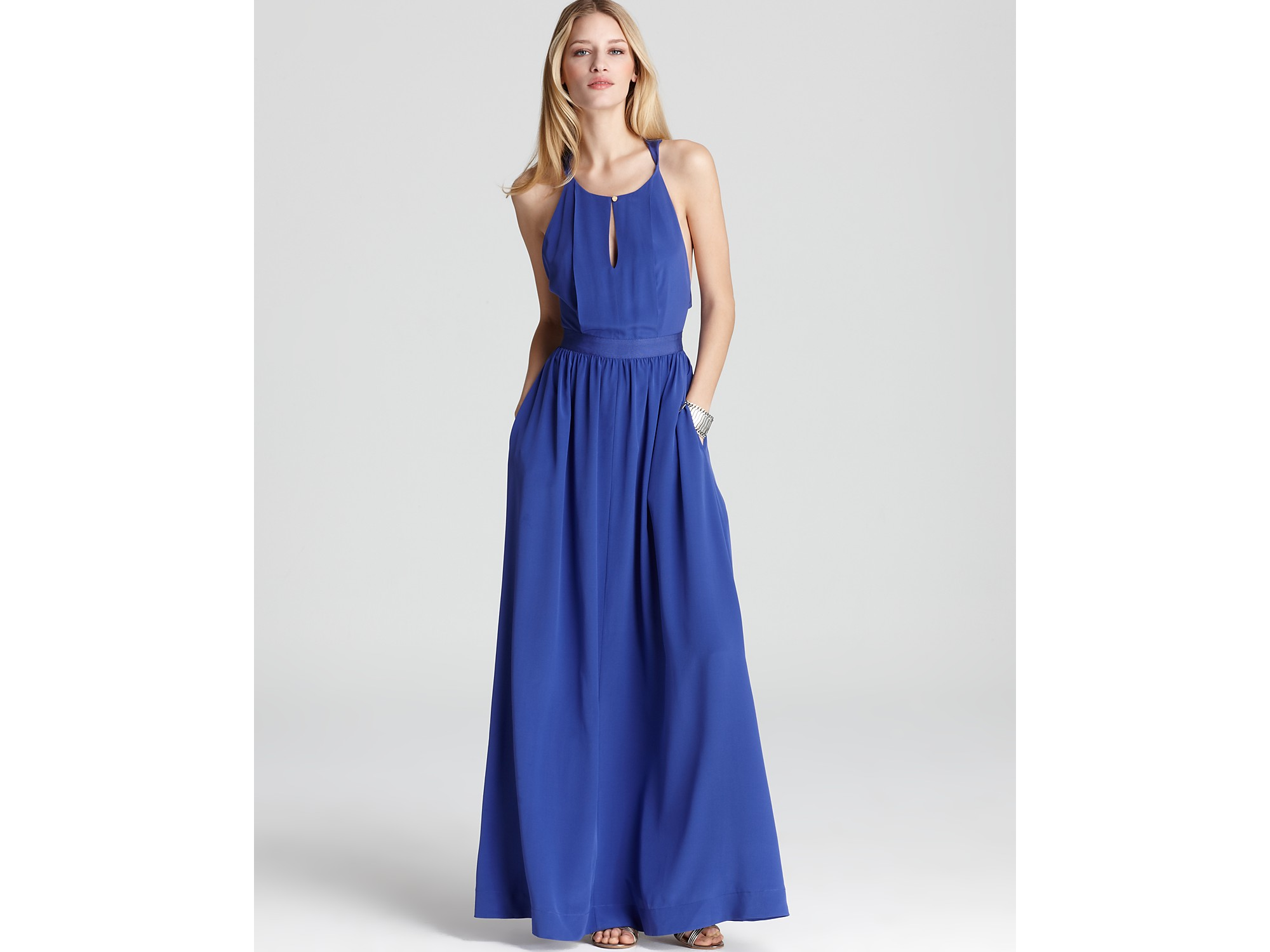 Lyst Juicy Couture Easy Summer Silk Maxi Dress In Blue