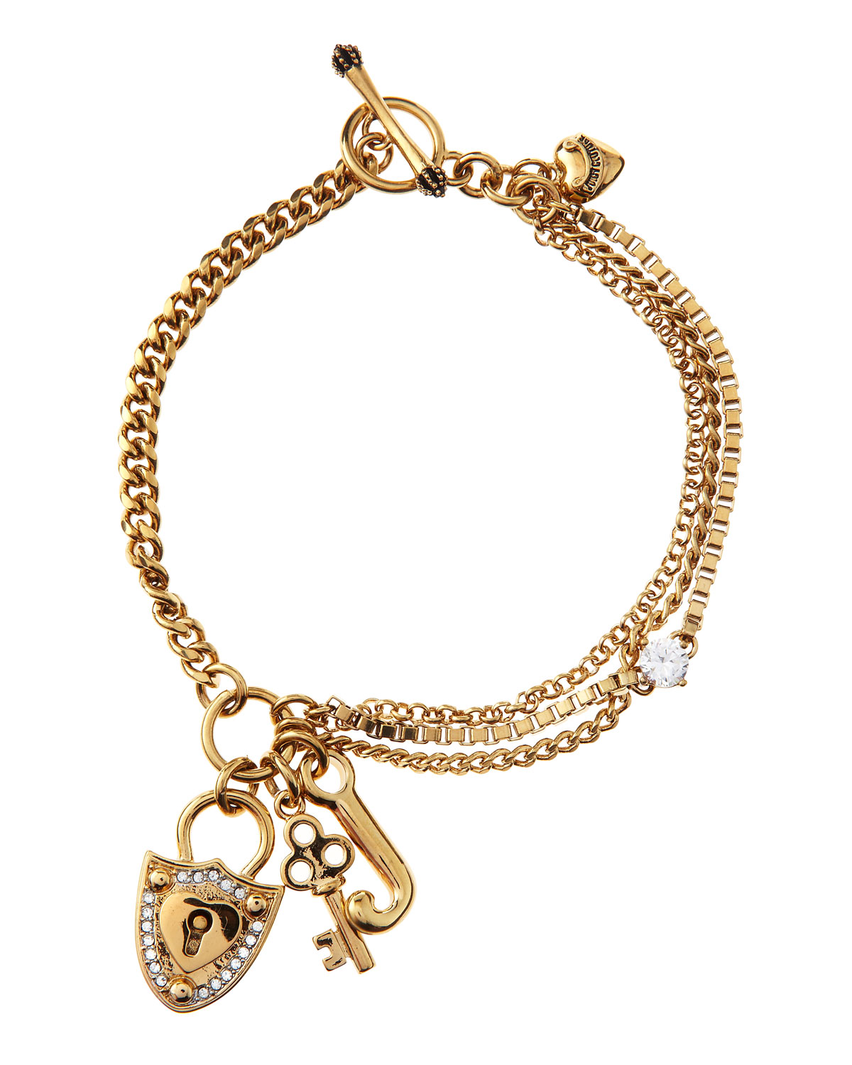 Juicy couture lockkey charm bracelet in gold null lyst