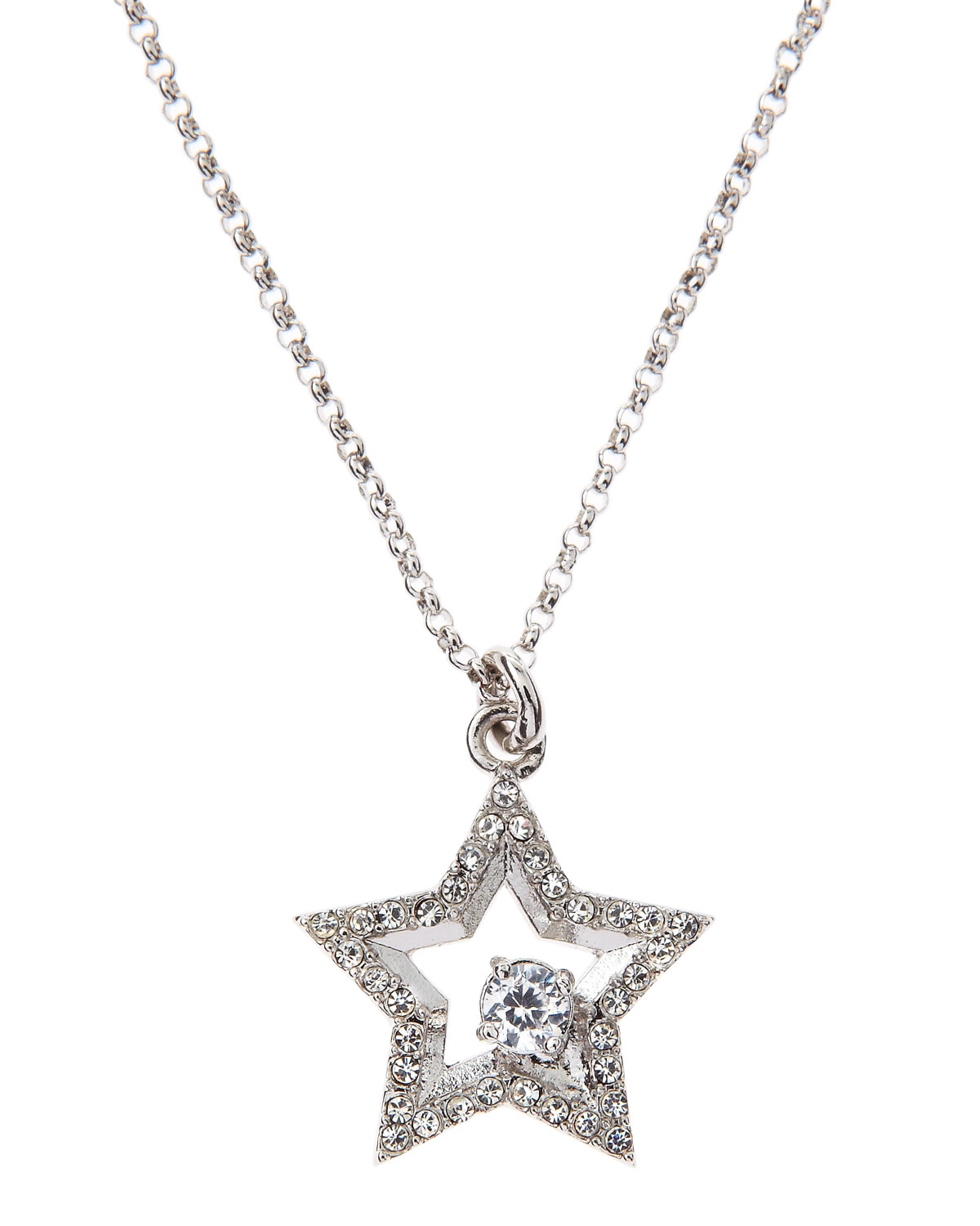 Juicy Couture Pave Star Wish Necklace in Silver (null) | Lyst