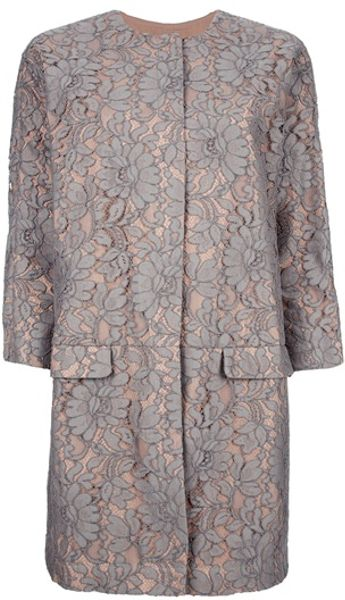 Msgm Floral Lace Coat in Floral - Lyst